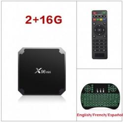 Boîtier Smart tv x96 mini, Amlogic S905W Quad Core 9.0 GHz, 2 go/16 go, 1 go/8 go, lecteur multimédia décodeur connecté Android